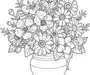 Coloriage et dessins gratuit Fleurs bien arrangées pour adulte à imprimer