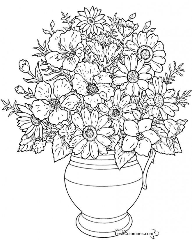 Coloriage et dessins gratuits Fleurs bien arrangées pour adulte à imprimer