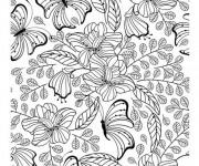 Coloriage Fleurs et Papillon créative