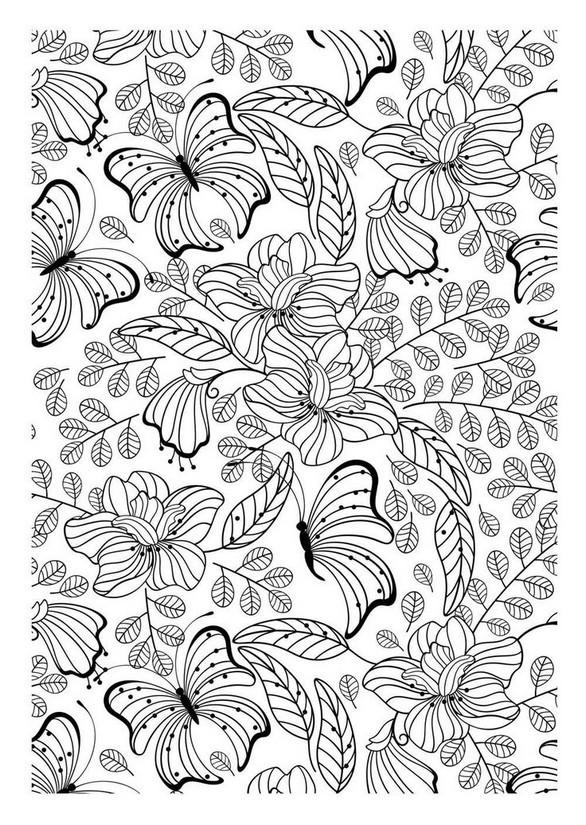 Coloriage et dessins gratuits Fleurs et Papillon créative à imprimer