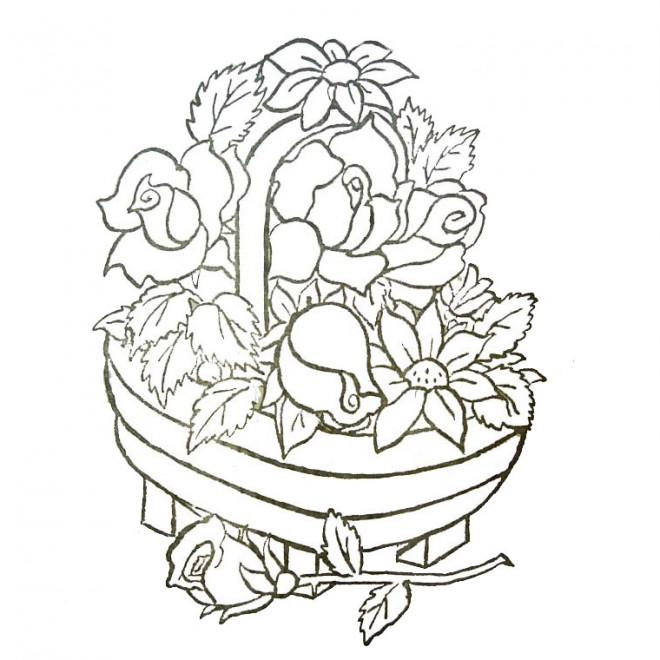Coloriage et dessins gratuits Panier de Fleur présentable à imprimer