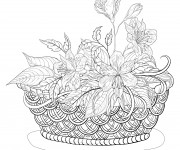 Coloriage et dessins gratuit Panier Fleurs  pour adulte à imprimer
