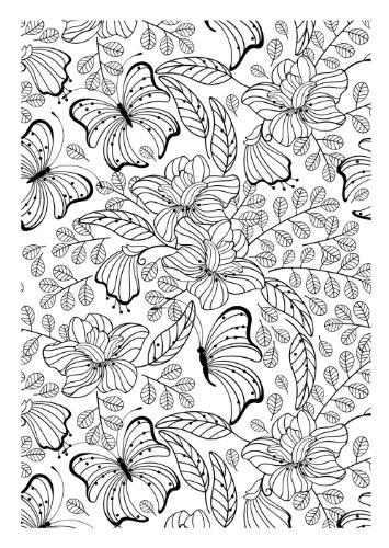 Coloriage et dessins gratuits Adulte Jardin et Papillon à imprimer