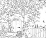 Coloriage et dessins gratuit Adulte  façade de Jardin à imprimer