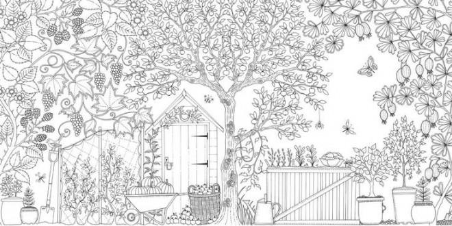 Coloriage et dessins gratuits Adulte  façade de Jardin à imprimer