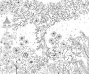 Coloriage et dessins gratuit Adulte Jardin fleuri à imprimer