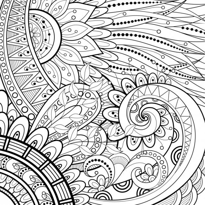 Coloriage adulte feuilles mandala dessin gratuit imprimer - Feuille de coloriage gratuit ...