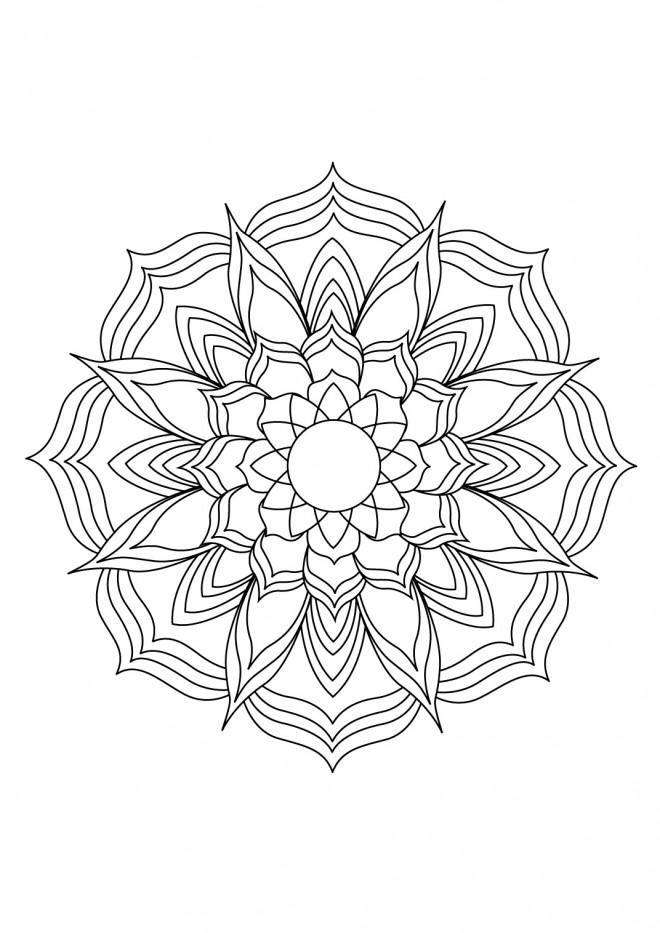 Coloriage et dessins gratuits Adulte Mandala Lotus à découper à imprimer