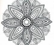 Coloriage et dessins gratuit Difficile Mandala Fleur pour Adulte à imprimer