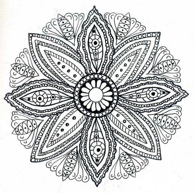 Coloriage et dessins gratuits Difficile Mandala Fleur pour Adulte à imprimer