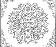 Coloriage et dessins gratuit Difficile mandala fleuri pour adulte à imprimer