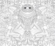 Coloriage et dessins gratuit Hibou Animaux Mandala à imprimer