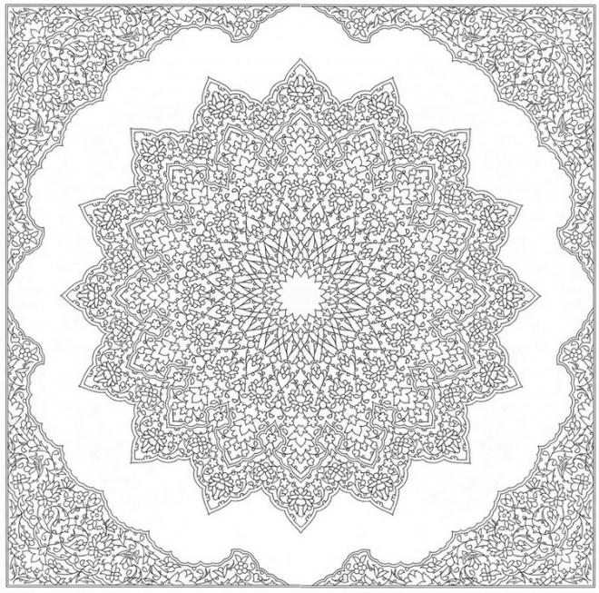 Coloriage et dessins gratuits Mandala Étoile stylisé difficile à imprimer