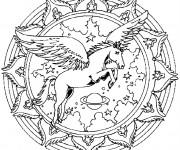 Coloriage et dessins gratuit Adulte Cheval avec des ailes à imprimer