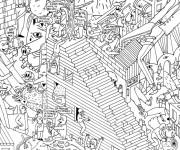 Coloriage et dessins gratuit Adulte Difficile Vie moderne à imprimer