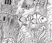 Coloriage et dessins gratuit Adulte fond marin à imprimer