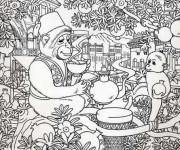 Coloriage et dessins gratuit Adulte Paysage Animaux sur L'arbre à imprimer