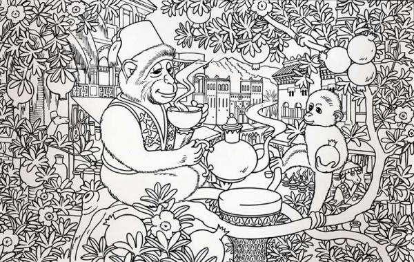 Coloriage et dessins gratuits Adulte Paysage Animaux sur L'arbre à imprimer