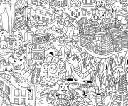 Coloriage et dessins gratuit Adulte Paysage Artistique à imprimer