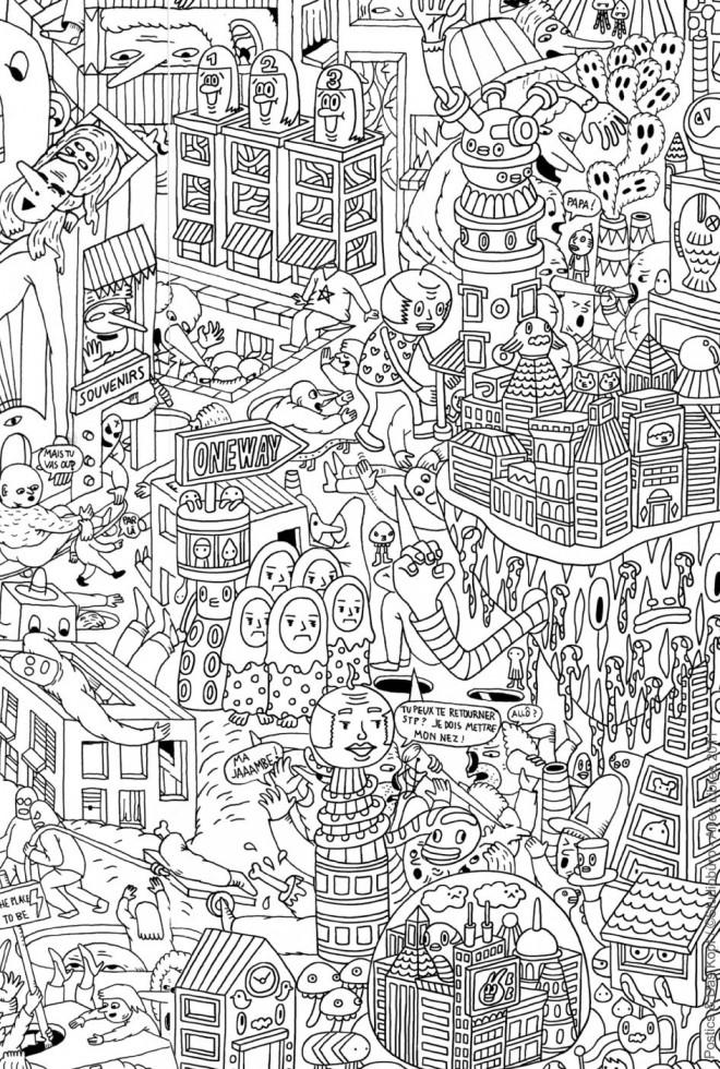 Coloriage adulte paysage artistique dessin gratuit imprimer - Coloriages pour adultes ...