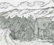 Coloriage et dessins gratuit Adulte Paysage au crayon à imprimer