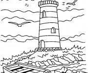 Coloriage et dessins gratuit Adulte Paysage de La mer à imprimer