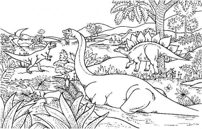 Coloriage et dessins gratuits Adulte Paysage Dinosaures à télécharger à imprimer