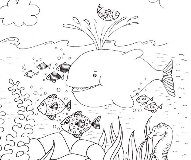 Coloriage et dessins gratuits Adulte Paysage Fond Marin à imprimer
