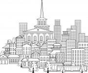 Coloriage et dessins gratuit Adulte Paysage La Ville à imprimer