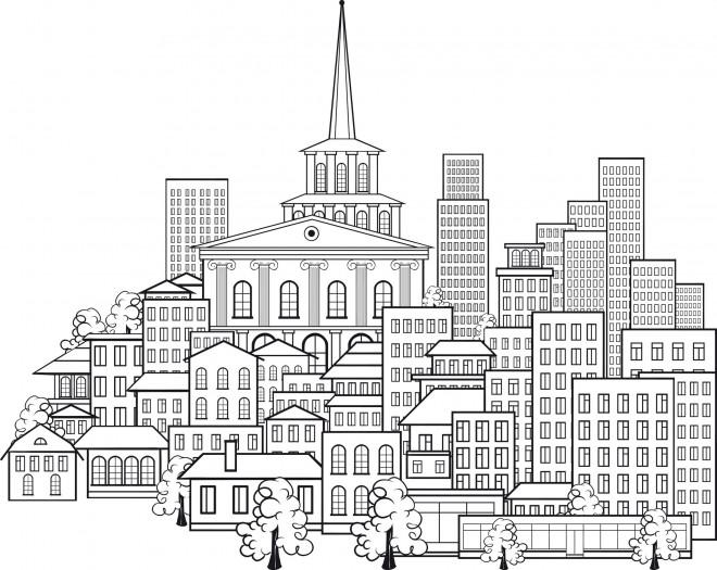 Coloriage et dessins gratuits Adulte Paysage La Ville à imprimer