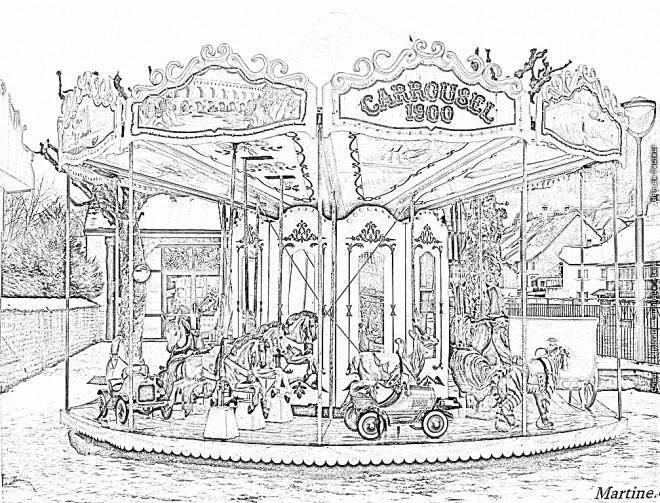Coloriage et dessins gratuits Adulte Paysage Le Carrousel à imprimer