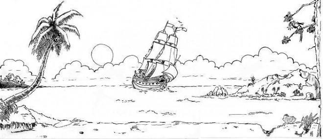 Coloriage et dessins gratuits Adulte Paysage Navire à imprimer