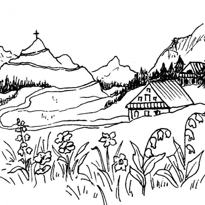 Coloriage paysage de montagne dessin gratuit imprimer - Dessin de chalet de montagne ...