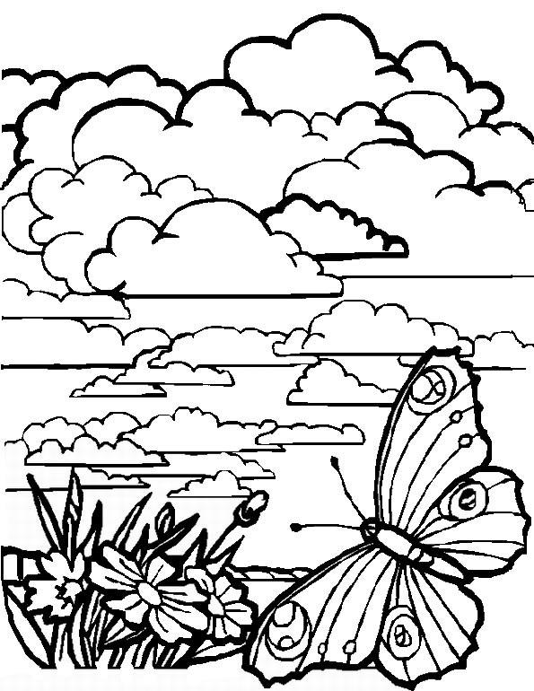 Coloriage paysage de nuages dessin gratuit imprimer - Dessin a colorier paysage ...