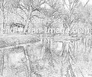 Coloriage et dessins gratuit Paysage de Rivière réaliste à imprimer