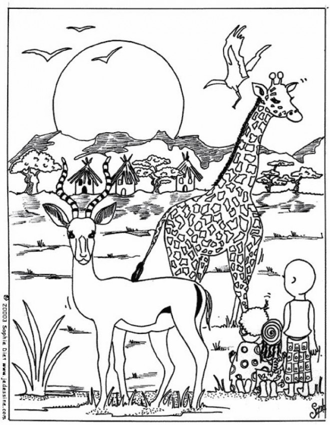 Coloriage animaux afrique dessin gratuit imprimer - Coloriage afrique a imprimer ...