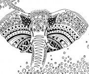 Coloriage Éléphant artistique