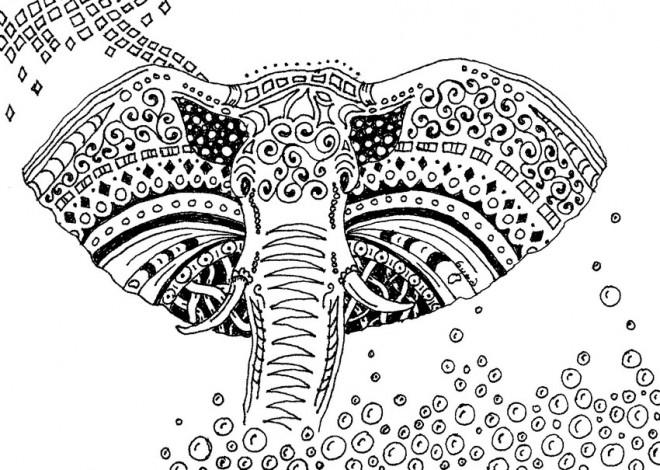 Coloriage et dessins gratuits Éléphant artistique à imprimer