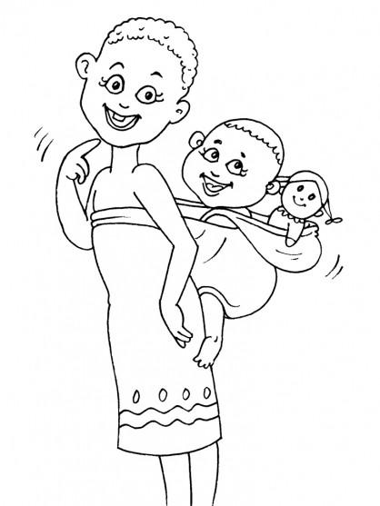 Coloriage et dessins gratuits Femme Africaine et ses petits à imprimer