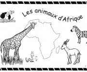 Coloriage et dessins gratuit Les animaux d'Afrique à découper à imprimer
