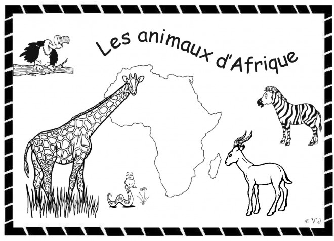 Coloriage les animaux d 39 afrique d couper - Animaux d afrique coloriage ...
