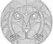 Coloriage Lion mandala pour adulte