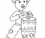 Coloriage et dessins gratuit Petit enfant Africain à imprimer