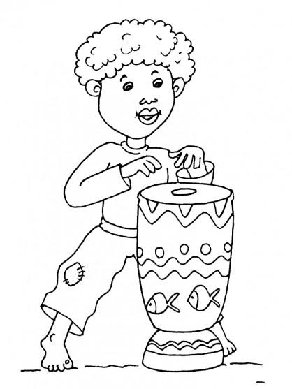 Coloriage et dessins gratuits Petit enfant Africain à imprimer