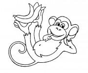 Coloriage Singe portant une banane