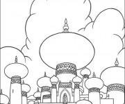 Coloriage et dessins gratuit Aladdin et le palais du Sultan à imprimer