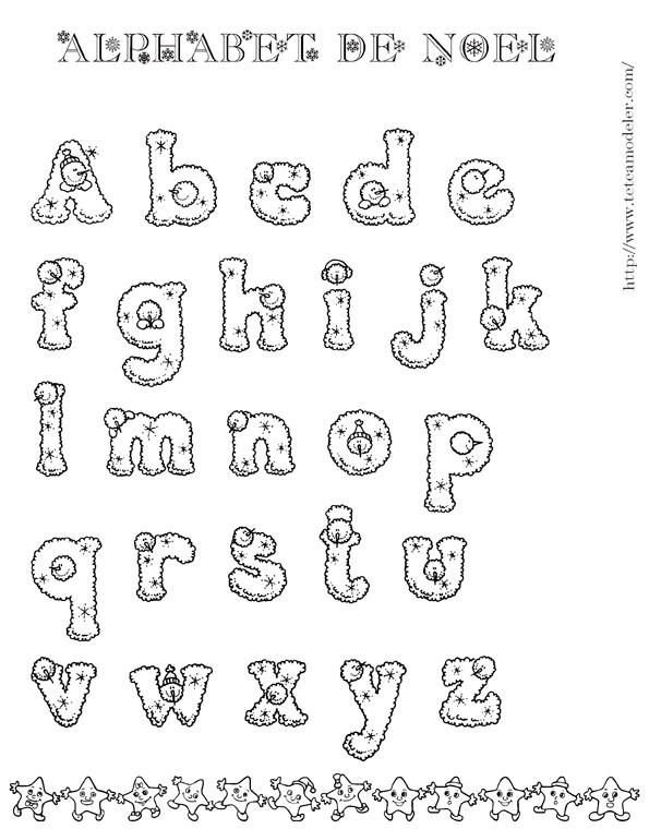 Coloriage Alphabet De Noel En Neige Dessin Gratuit A Imprimer