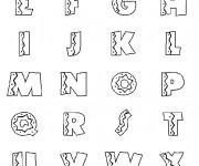 Coloriage et dessins gratuit Alphabet décoré en noir à imprimer