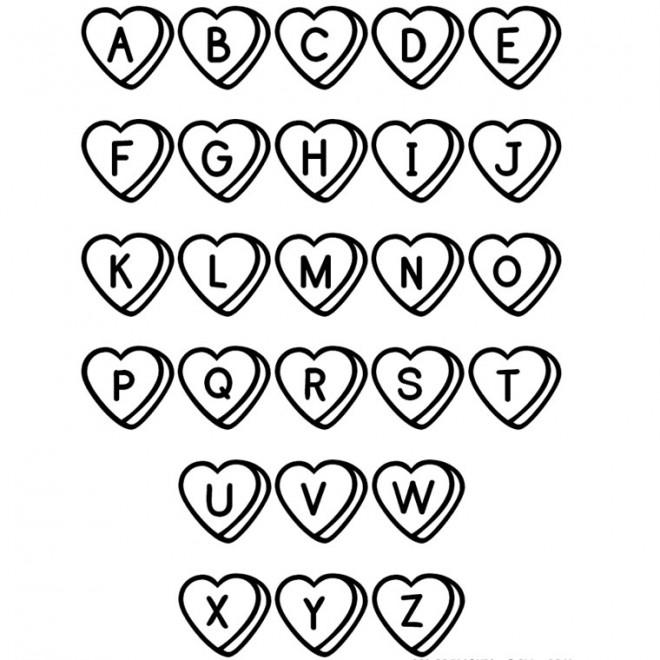 Coloriage et dessins gratuits Alphabet en coeur à imprimer