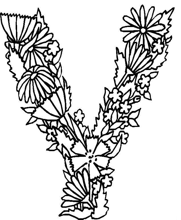 Coloriage et dessins gratuits Fleurs en forme de V à imprimer